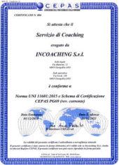 Certificato CEPAS Servizio di Coaching di INCOACHING - Norma UNI 11601:2015